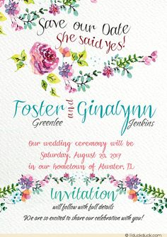 Celebrate love in bloom with these soft floral bridal save the date cards! Chic patterns form a backdrop for flower blossoms in an artistic style.