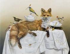 Kate Bergin (b. Australia The hunt for a room of one's own 2012 Oil on canvas on board Australian Painters, Australian Artists, Room Of One's Own, The Fox And The Hound, Fantasy Paintings, Fox Art, Adventures In Wonderland, Whimsical Art, Art Fair