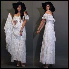 VTG 70S GUNNE SAX WHITE FLORAL GARDEN WEDDING PRAIRIE HIPPIE BOHO MAXI DRESS | eBay
