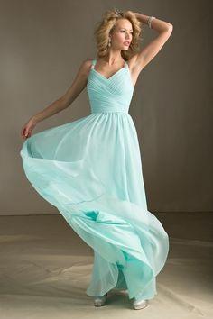 2013 Bridesmaid Dresses A Line V Neck Floor Length Chiffon With Ruffle