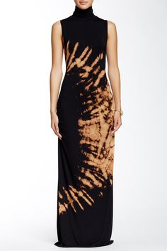 Go Couture | Printed Sleeveless Turtleneck Maxi | HauteLook