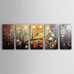 Hand-painted Abstract Oil Painting Canvas Art - Set of 5