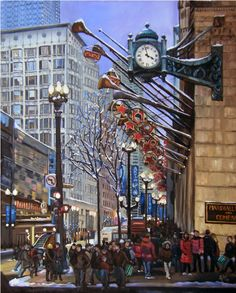 Chicago Holiday Oil Painting  12x15in Giclee Print by ArtdeJoie, $44.95
