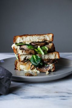 Grilled Cheese with Balsamic Glazed Mushrooms, Onions, and Fresh Spinach