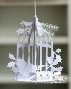 Gorgeous ornament made from die cuts from Godelieve Tijskens at StampingMathilda: Kitschy Christmas Bird Cage
