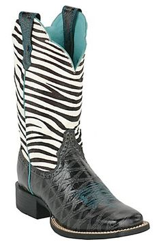 Ariat Ladies Black Anteater Print Quickdraw w/ Zebra Top Square Toe Western Boot...pretty sure I NEED these