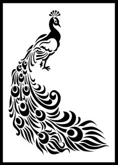 Pfau Vogel Schablone Kunsthandwerk Wand Dekor Stoffe Möbel Source by joyvanselow Bird Stencil, Damask Stencil, Stencil Patterns, Stencil Art, Stencil Designs, Paint Designs, Stenciling, Jaali Design, Peacock Images