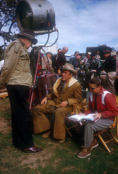TWO RODEO TOGETHER (1960) - Director John Ford chats with James Stewart on location near Brackettville, Texas - Columbia.