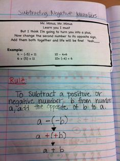 McHugh's Corner: Where Mathletes Come to Train: Interactive Math Notebooks: Adding and Subtracting Negative Numbers Math Notebooks, Interactive Notebooks, Subtracting Integers, Year 7 Maths, 7th Grade Math, Sixth Grade, Math Classroom, Classroom Ideas, School
