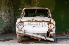 rusty car: An ancient car ready for junkyard Stock Photo