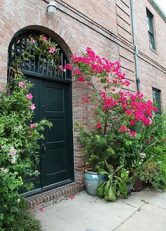 This is a door in the New Orleans French Quarter. Louisiana Usa, New Orleans Louisiana, Villas, New Orleans French Quarter, New Orleans Homes, Crescent City, Bougainvillea, Decoration, Beautiful Places