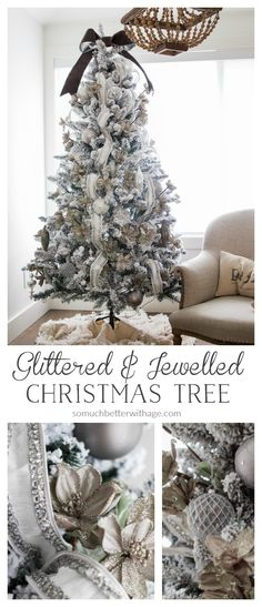 - Glittered and jewelled Christmas tree