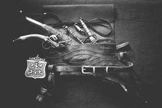Ottoman leather weapons belt (selahlik / silahlik)