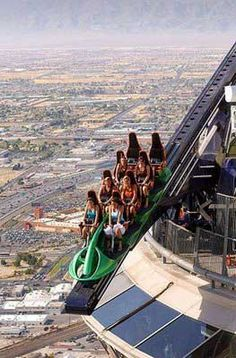 The X-Scream will propel you and several other riders head-first, 27 feet over the EDGE of the Stratosphere Tower. After being shot over the edge, you'll dangle weightlessly above the Las Vegas Strip before being pulled back and propelled over again for more.