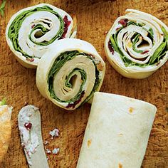 Turkey-and-Spinach Wraps with Cranberry-Walnut-Cream Cheese Spread   MyRecipes.com