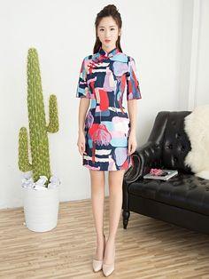 Contrast Qipao / Cheongsam Dress with Half Sleeves