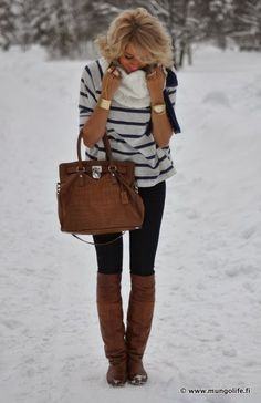 Winter fashion with black skinnies, white scarf, brown long booties and handbag canada goose !!! just need $115 !!!!!! http://www.2014jacketsbrand.com/