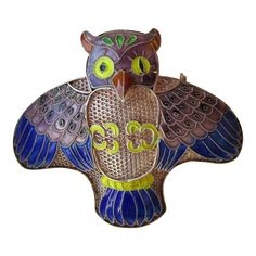 DRASTIC REDUCTION Vintage Chinese Export Sterling Silver Cloisonne Enamel OWL Pin