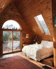 14 Fabulous Rustic Chic Bedroom Design and Decor Ideas to Make Your Space Special - The Trending House A Frame Cabin, A Frame House, Cozy Cabin, Cozy House, Cozy Cottage, Cozy Bedroom, Bedroom Decor, Bedroom Ideas, Bedroom Inspiration