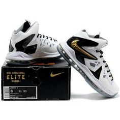 http://www.asneakers4u.com/ Nike LeBron 10 Elite Home White/Black/Metallic Gold Sale Price: $79.20