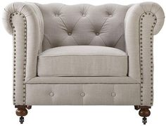 Gordon Tufted Chair - Accent Chairs - Living Room - Furniture | HomeDecorators.com