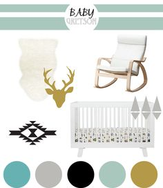 Nursery Inspiration Board | Baby Boy, Aztec, Modern, Nursery