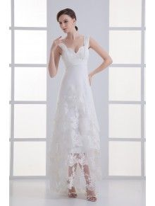 Satin and Net Straps A-line Ankle-Length Embroidered Wedding Dress
