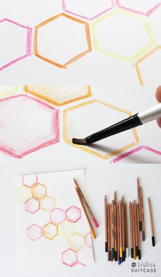 watercolor pencil blending. use cover plate: hexagons.