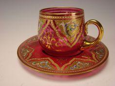 Antique Bohemian Moser Cranberry Glass Hand Painted Gilt Enamel Tea Cup Saucer