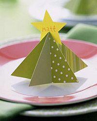 Tarjetas con forma de árbol para Navidad