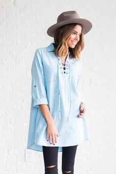 DETAILS: - Collared shirt dress with roll-tab sleeves and lace up front - Fabric Content: Polyester - Model is wearing a small Denim And Lace, Denim Top, Clad And Cloth, Collared Shirt Dress, Cargo Jacket, Vogue, Casual Wear, Cute Outfits, Tunic Tops