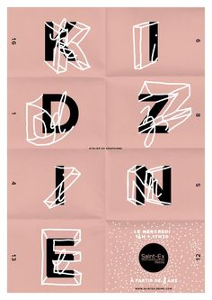 KIDZINE im Digital Cultural Center Saint-Exupery 2015 – Grafik: Jean-Cha … - Handlettering und Typografie Creative Typography, Typography Letters, Typography Logo, Vintage Typography, Calligraphy Fonts, Cursive Fonts, Vintage Fonts, Handwritten Letters, Modern Typography