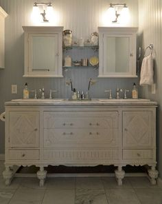 "I don't know about ""Astonishing"" but this is a cute bathroom vanity made out of an old piece of furniture that would suit any beachy cottage.   -Top 38 Astonishing DIY Vintage Decor Ideas To Get You Inspired"