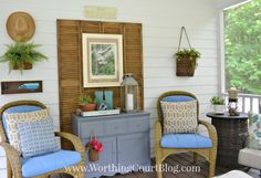 Repurpose old shutters or bifold doors as a backdrop for art & furniture. Check at Goodwill or Habitat for Humanity Restore.  #DIY
