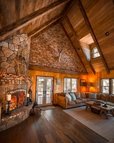 Cool summer nights call for a cozy fireplace, good friends and a warm drink. Plan Chalet, Cabin In The Woods, Rustic Home Design, Cozy Fireplace, Log Cabin Homes, Cabin Interiors, My Dream Home, Future House, Loft