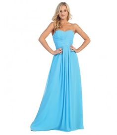 Turquoise Pleated Chiffon Strapless Sweetheart Gown