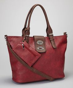 Take a look at this Burgundy & Brown Shoulder Bag & Clutch by Fall Trend: Oxblood Red on @zulily today!