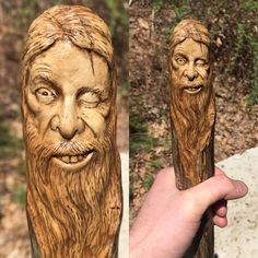 """Bearded Charmer"" walking Stick carving by Josh Carte..."