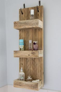 Rustic Wood Bathroom: Rustic Bathroom Shelves Made From Reclaimed Pallet Wood Pallet Bathroom, Pallet Wall Shelves, Rustic Bathroom Shelves, Bathroom Ideas, Bathroom Storage, Rustic Shelves, Bathroom Remodeling, Wood Shelf, Bathroom Crafts