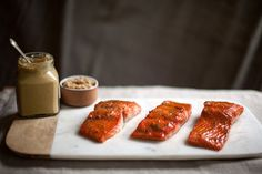 Roasted Salmon Glazed with Brown Sugar and Mustard Recipe - NYT Cooking (This sounds ridiculously, wonderfully easy! Salmon Recipes, Fish Recipes, Seafood Recipes, Cooking Recipes, Healthy Recipes, Cooking Fish, Pan Cooking, Cooking Lamb, Weeknight Recipes