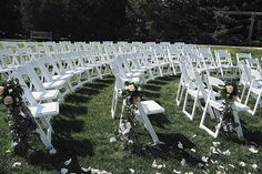 We love this arched layout with our white garden chairs for this outdoor wedding ceremony. Floral accents and rose petals down the aisle finish this simple and elegant country wedding decoration. Ceremony Arch, Wedding Ceremony, Wedding Colors, Wedding Flowers, Wedding Dresses, Pink Wedding Receptions, Jamaica Wedding, Country Wedding Decorations, Wedding Gifts For Couples
