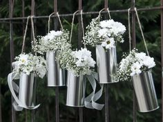 Girlande aus Blechdosen – silber – Garland made of tin cans – silver – 5 pieces Simple Bridal Shower, Bridal Shower Flowers, Bridal Shower Centerpieces, Gold Bridal Showers, Bridal Shower Rustic, Bridal Shower Favors, Rustic Wedding, Wedding Decorations, Tin Cans