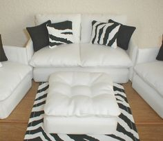 Barbie Furniture Living Room Set White with Zebra / Black  Monster High Bratz Blythe Momoko. $23.95, via Etsy.