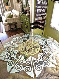 How to paint under a glass tabletop. Gorgeous! Verre Eglomise DIY | Paint + Pattern