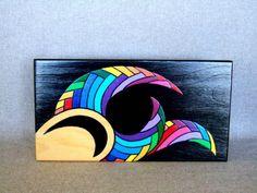 Hand Painted Keepsake Box Art Object Rainbow Colors por IshiGallery