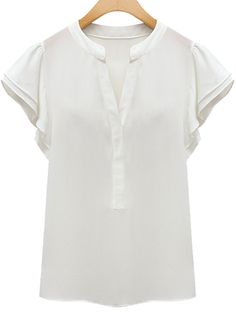 White V Neck Short Sleeve Ruffle Chiffon Blouse -SheIn(Sheinside)