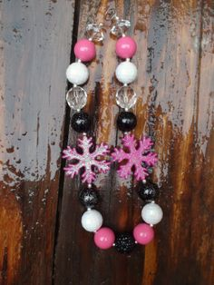 Christmas Snowflake Girls Chunky Necklace  by AlternativeScraps, $15.00