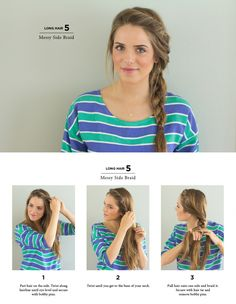 Summer Hairstyles : Messy Side Braid Easy Hairstyles You Can Do In 5 Minutes Photos Cute Side Braids, Pretty Braids, Cool Braids, Easy Side Braid, Simple Braids, Braids Easy, Side Braids For Long Hair, Side Braid Tutorial, Wedding Side Braids