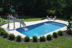 Swimming Pool design and swimming pool plans for homeowners, builders, architects and engineers. Diving pool design and plans. Swimming pool shape templates for swimming pool plans. Award winning team will design your custom pool Inground Pool Designs, Small Inground Pool, Small Swimming Pools, Swimming Pools Backyard, Swimming Pool Designs, Pool Pool, Pools For Small Yards, Backyard Pool Landscaping, Backyard Ideas