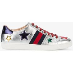 Gucci Metallic Star Trainers (£485) ❤ liked on Polyvore featuring shoes, sneakers, gucci, leather shoes, flat sneakers, leather lace up shoes, retro shoes and metallic flat shoes
